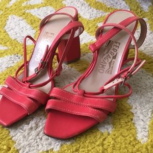 Strappy coral sandals